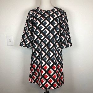 Banana Republic red black geometric square dress 2